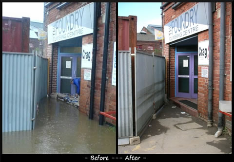Foundry front door, before and after the flood