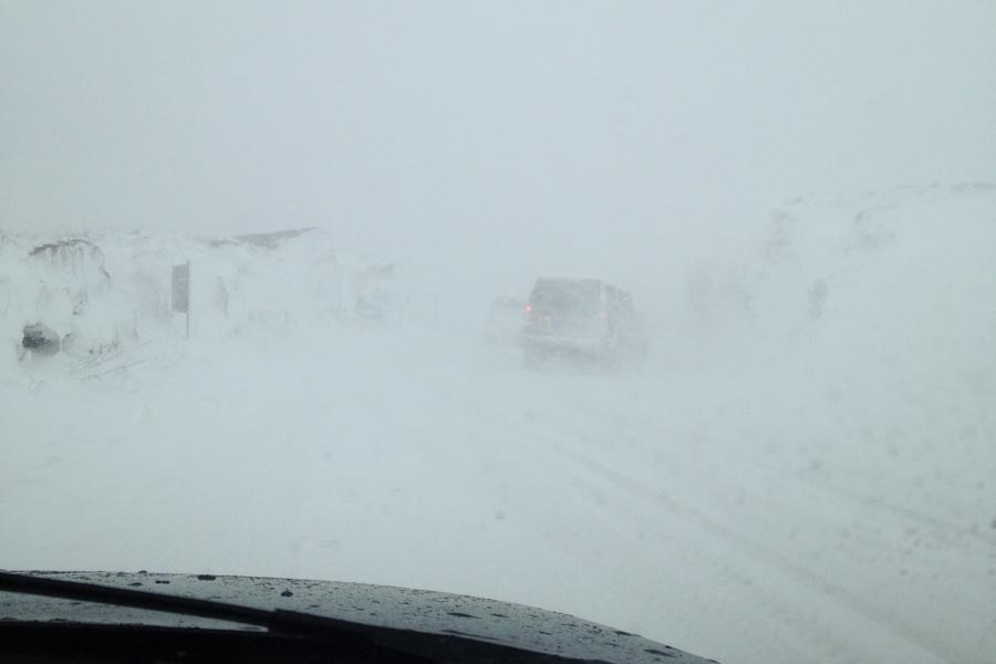 Whiteout on the commute - in April!